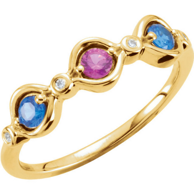 14kt Yellow Gold Pink Tourmaline Blue Topaz Mothers Stackable Ring