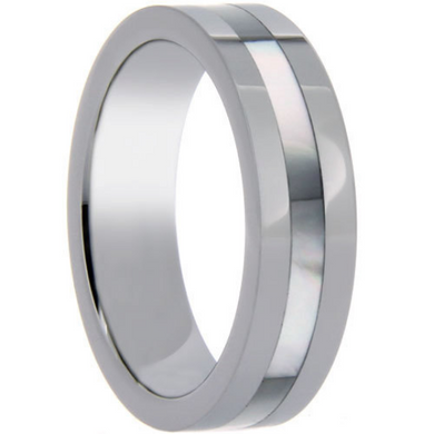 Tungsten Wedding Band 6MM Single Row Mother of Pearl Shell Inlay Unique Design Polished Ring FREE gift Box Size 6 7 8