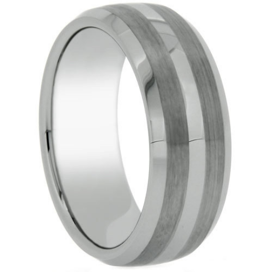 Tungsten Ring 8mm Band Double Row Satin & High Polish Finish Beveled Edge Design Sizes 5-13 + Half Sizes