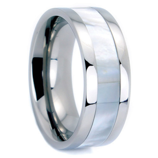 Titanium Wedding Band 6MM & 8MM Mother of Pearl Shell Inlay Unique Design Polished Ring FREE gift Box Size 5 to 14