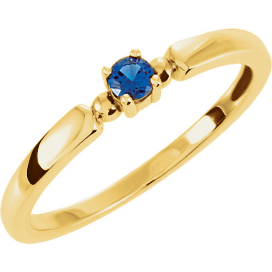 Mothers Ring in 14kt yellow Gold One Round 3.0mm Gemstones Pick Any Birthstone You Preffer Size 3 4 5 6 7 8 9 Half Sizes