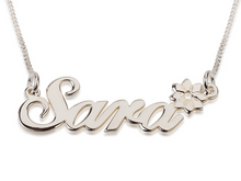 Custom Name Necklaces in 14kt White Gold or 14kt Yellow Gold Sara Ashley Estrella Andrea Carrie Samples Create your Own Names with Box Chain