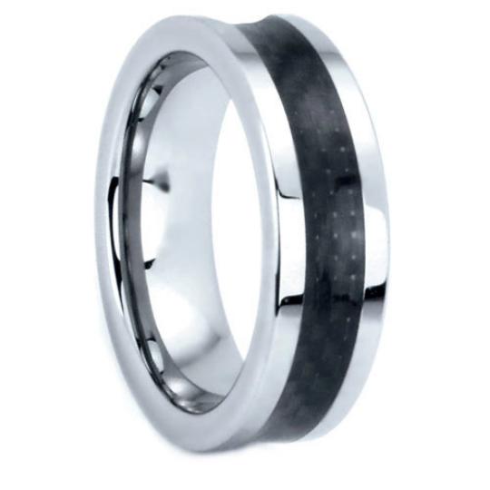 Tungsten Rings Carbon Fiber Inlay Wedding Bands 7mm Wide Comfort Fit Size 5 to 13 + Half Sizes