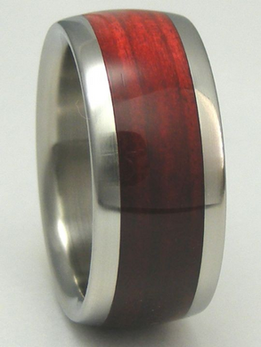 Tungsten Wood Ring Cherry Bahama Red Wood Wedding Anniversary Band Mens and Ladies sizes available 4-17