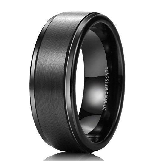 8mm Black Tungsten Men's Wedding Ring Comfort Fit Matte Finish Engagement Sizes 7 7.5 8 8.5 9 9.5 10 10.5 11 11.5 12 12.5 13 13.5 14