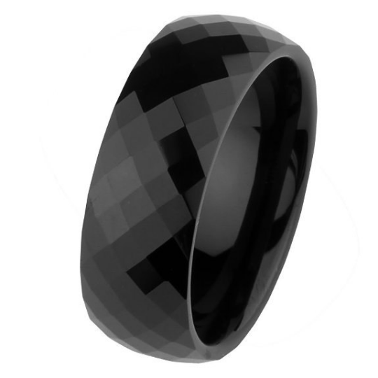 8mm Faceted Black Tungsten Carbide COMFORT-FIT Wedding Band Ring Size 5 5.5 6 6.5 7 7.5 8 8.5 9 9.5 10 10.5 11 11.5 12 12.5 13 14 15