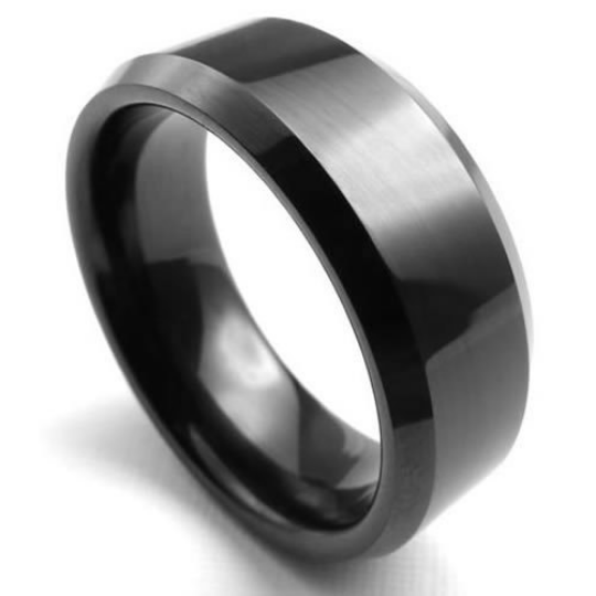 8mm High Polish Matte Finish Tungsten Carbide Men's Ring Color Black Finish Beveled Edge Design Sizes 6 7 8 9 10 11 12 13 14 and Half Sizes