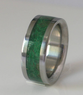 Tungsten Wedding Band with Green Maple Burl Wood Inlay Rings Available for Men and Ladies Sizes 4-18
