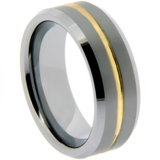 Tungsten Ring 6MM or 8MM IP Gold Tungsten Two Tone His or Hers Bands Satin & Polished Finish Wedding Band Sizes 5 - 13