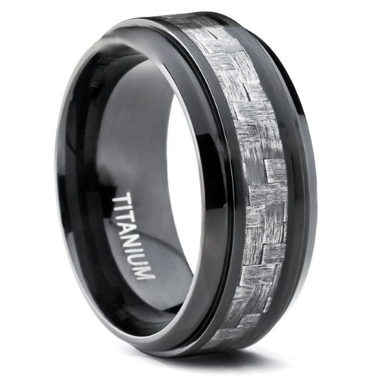 Titanium 9MM Ring Wedding Band Gray Carbon Fiber Inlay Design Unique Dome Band FREE gift Box Size 7 7.5 8 8.5 9 9.5 10 10.5 11 12 13