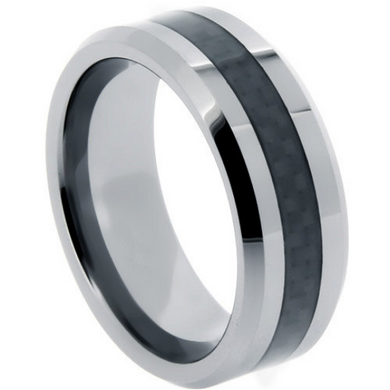Tungsten Rings Black Carbon Fiber Inlay Wedding Bands 8mm Wide Comfort Fit Size 10 12 13 14
