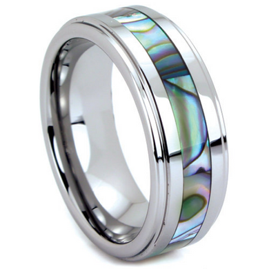 Tungsten Wedding Band His and Hers 6MM & 8MM Abalone Shell Inlay Unique Design Polished Ring FREE gift Box Size 5 to 13