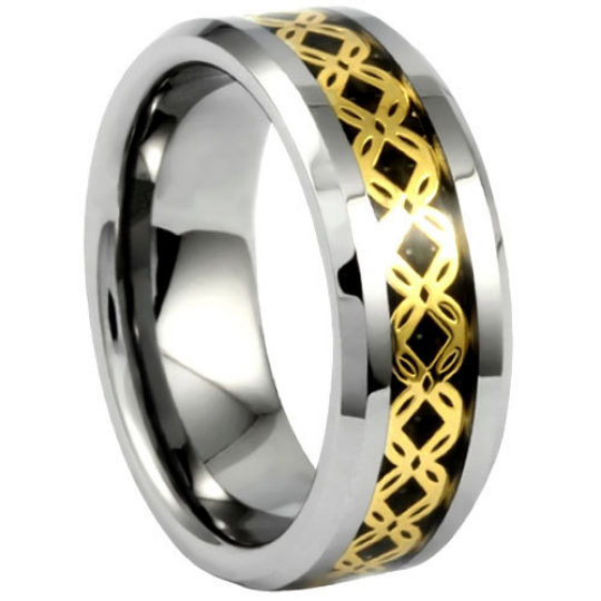 Tungsten Ring 8MM IP Gold Crisscross Pattern Over Black Carbon Fiber Polished Design Wedding Band Sizes 8 9 10 11 12 13