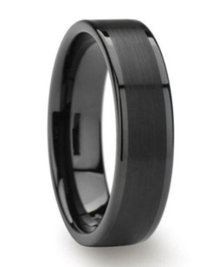 6mm Men's Women's Black Titanium Ring Flat Brushed Pipe Cut Wedding Band Size 4 - 12 Available in 1/2 Size increments