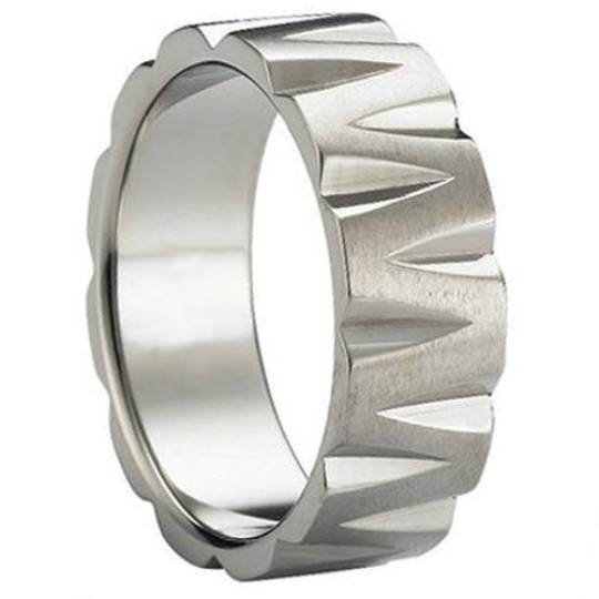 Titanium Wedding Band 6MM & 8MM Unique Design Satin Polished Ring FREE gift Box Size 5 to 14