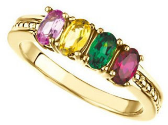 Mothers Ring 14k yellow Gold 5.00X3.00mm Oval Stones Emerald Ruby Citrine Pink Tourmaline any Stone Preffered Sz 3 4 5 6 7 8 9 Half Sizes