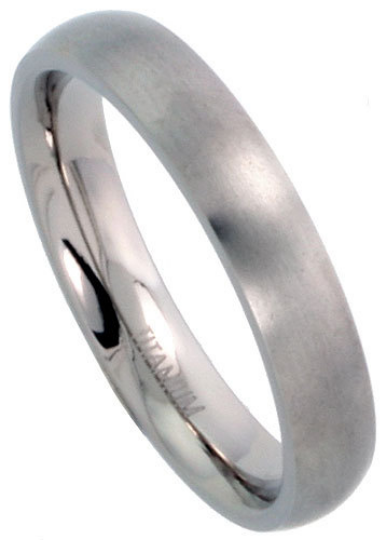 Titanium Wedding Band Comfort Fit Ring 4mm Width Domed Matte Finish Men or Womens Size 5 6 7 8 9 10 11 12
