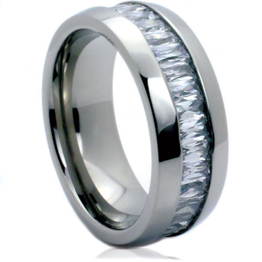 Titanium 8MM Ring Wedding Band Emerald Cut Cubic Zirconia Gemstones Eternity Band FREE gift Box Size 5 to 14