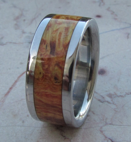 Titanium Ring Box Elder Burl Wood Mens or Ladies Wedding Band in sizes 4-17 HandCrafted