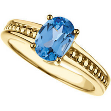 Mothers Ring Design 14kt yellow Gold 8.00X6.00mm Oval Blue Topaz Stone or any Gemstone Preffered Size 3 4 5 6 7 8 9 Plus Half Sizes