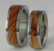 Titanium Wooden Wedding Band Set of TWO Custom Made Rings Inlaid with Bethlehem Olive Wood from the Holy Land Available in size 4-17
