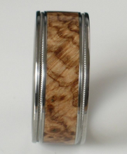 Titanium Wood Ring Brown Maple Burl Band Custom Wedding Band Available in Comfort Fit Mens and Ladies Size 4-18 Unique Exotic Wooden Design