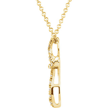 Religious Jewelry Diamond Cross Pendant in 14kt Yellow Gold and 14kt White Gold Design Cross Cable Chain Included