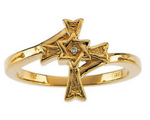 Star of David Cross Ring 14kt Yellow Gold or 14kt White Gold Design with a Diamond Size 3 4 5 6 7 8 9 Plus Half and 1/4 Sizes