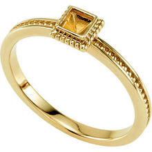 14kt Yellow Gold Square Green Emerald Stackable Ring