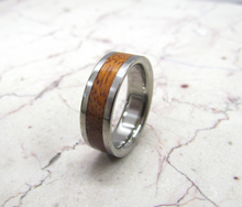 Titanium Ring with Exotic Koa Wood Polished Edge Design Mens or Ladies HandCrafted WEDDING Band Any Size 4-17 & 1/4 sizes