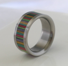 Custom Made Rainbow Dymond Wood Titanium Band Wooden Commitment Ring Hand Made Wedding Band Available in sizes 4-17 Gay Lesbian Pride