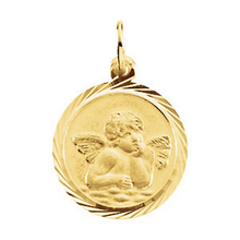 Angel Pendant in 14kt White Gold or 14kt Yellow Gold Angel Medallian with Diamond Cut Edges in 14mm or 18mm
