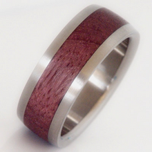 Exotic Wood Bands Pure Tungsten and Titanium Exotic Purple Heart Wood Mens or Ladies HandCrafted WEDDING Bands Any Size 4-17 & 1/4 sizes
