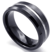 Black & Silver Tungsten Ring 8mm Band Single Row High Polish Finish Beveled Edge Design Sizes 8 9 10 11 12 13