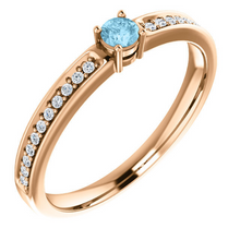 Mothers Ring in 14kt Yellow Gold White Gold or Rose Gold Round Diamonds Blue Topaz any Birthstone You Need Sz 3 4 5 6 7 8 9 Half and  1/4 Sz