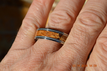 Titanium Milgrain Band with Brown Maple Burl Custom Wedding Ring Comfort Fit Design Mens and Ladies Size 4-18 Unique Exotic Wooden Design