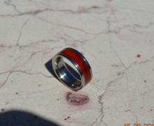 RESERVED For Ashley Barone Titanium Wood Ring Exotic Red Heart Wood 8mm Mens Size 9