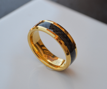 Tungsten 18kt Rose or Yellow Gold Plated Carbon Fiber Inlay Beveled Edges 8MM Wedding Band Men Women Sz 5 6 7 8 9 10 11 12 13 14 1/2 Sizes
