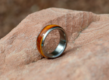 Titanium Wood Ring Golden Maple Burl Wooden Band Mens or Ladies Wedding Ring - Bands Available in Sizes 4-18 Rings