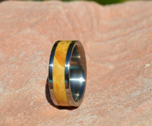 Natural Maple Burl Wood in a Titanium Band 8mm Mens or Ladies Wedding Bands Sz 4 5 6 7 8 9 10 11 12 13 14 15 16 17 18 19 20 Half & 1/4 Sizes