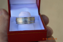 Custom Made Titanium Wedding Band with Tungsten Hammered Inlay Ring with Milgrain Design Available in mens and womens sizes 4-18