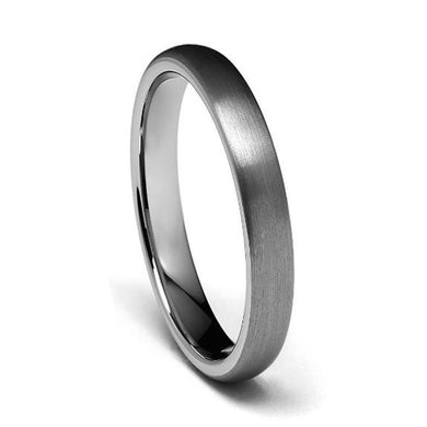 4MM Tungsten Matte Dome Ring Comfort Fit Wedding Band Sizes 5 to 15