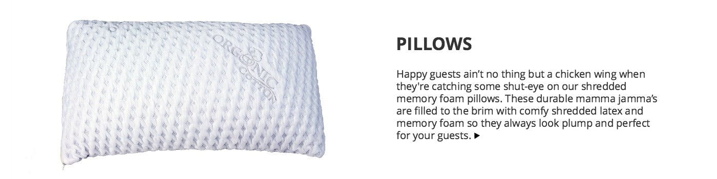 Short Term Rental Pillows for Airbnb and Vacation Rentals