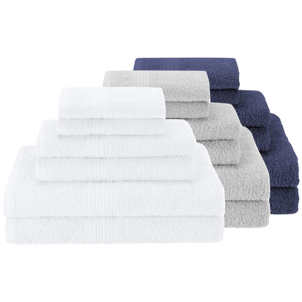 Money Saver White Gray Navy Blue Towel Sets Good Host Shop