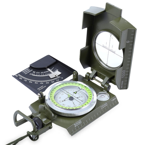 Prismatic Water Resistant Luminous Compass with Pouch Military Army Travel Geology Equipment Pointing Guide For Camping Hiking