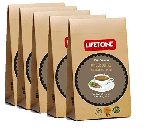 LIFETONE Ginger Coriander Cardamom Coffee| Yoga Coffee | Coffee Bean Blend with Cardamom,Coriander,Ginger,Clove,Pepper and Cinnamon|100 Sachets 200g