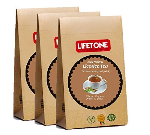 LIFETONE Pure Licorice Root Tea,Whole Herb,from Tropics,100% Natural,60 Teabags