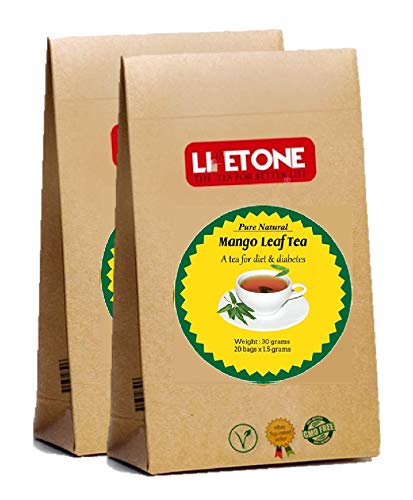 lifetone the tea for better life, Mango Leaf Tea | 100% Natural Herbal Supplement | 40 Teabags | Delicious Green Leaf Tea | Natural Detox Tea | Diabetic Tea
