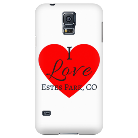 """I Love Estes Park"" White Galaxy & iPhone Covers"