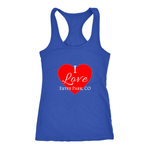 """I Love Estes Park"" Bold Women's Racer Back Tank Top"